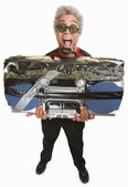 Man with Taped Boom Box — Stock Photo