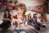 Happy Girl Texting — Stock Photo