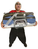 Hysterical Man with Boom Box — Stock Photo