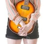 腼腆的女士举行吉他 — 图库照片