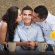 Son Kissed By Parents — ストック写真