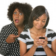 Mad Mom with Teen on Phone — Stock Photo