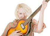 Grinning Female Guitarist — Stock Photo