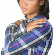 Sad Teenager Holds Shoulders — Stock Photo