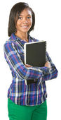 Cute Student with Notebook — Stock Photo