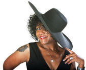 Excited Lady in Large Hat — Stock Photo