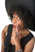 Cute Black Woman Whispering — Stock Photo