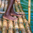 Captain's On Bamboo Boat — Stock Photo