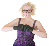Blond with Boxing Gloves — Stock Photo
