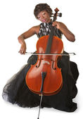 Isolated Cello Player — Stock Photo