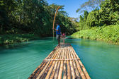 Bamboo River Tourism in Jamaica — Stock Photo