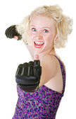 Enthusiastic Female Boxer — Стоковое фото