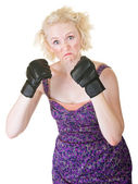 Grimacing Lady with MMA Gloves — Stock Photo
