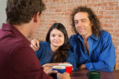 Cute Mixed Couple in Cafe — Stock Photo
