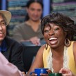 Laughing Lady in Cafe — Stockfoto