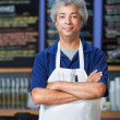 Man in Apron with Folded Arms — Stock Photo