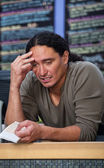 Tired Cafe Worker — Stock Photo