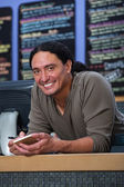 Smiling Cafe Owner — Stock Photo