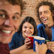 Friends Toasting with Coffee Mugs — Stock Photo
