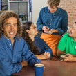 Man with Friends and Barista — Stock Photo