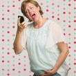 Pregnant Woman Yelling at Phone — 图库照片