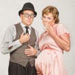 Stock Photo: Coy Pregnant Couple