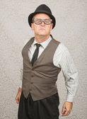 Bragging Man in Eyeglasses — Stock Photo