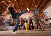 Capoeira Performers Kicking — Stock Photo