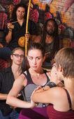 Serious Capoeira Woman Blocking — Stock Photo