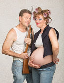 Adorable Eccentric Pregnant Couple — Stock Photo
