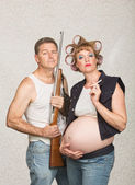 Smoking Pregnant Female Hillbilly — Stock Photo