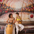 Capoeira Couple Playing Music — Stok fotoğraf