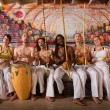 Cheerful Capoeira Team Singing — Stock Photo