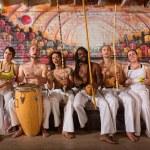 Cheerful Capoeira Team Singing — Stock Photo