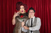 Man Gives Drag Queen a Rose — Stock Photo