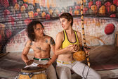 Capoeira Couple Playing Traditional Instruments — Stock Photo