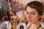 Young Female Capoeira Musician — Stock Photo