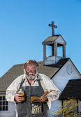 Old West Drunkard Holds Bible — Stock Photo