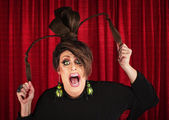 Screaming Drag Queen Pulling Hair — Stock Photo