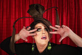 Eccentric Drag Queen Looking Up — Stock Photo