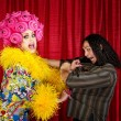 Foto Stock: Desperate Drag Queen with Man