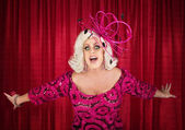 Blond Drag Queen Singing — Stok fotoğraf