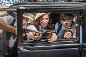 Gangsters Shooting From Car — Stock Photo