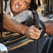 Angry Gangster Shooting Gun — Stock Photo #39258237
