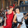 Attractive Female Gangsters with Guns — Stock Photo