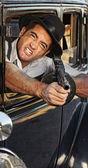 Angry Gangster Shooting Gun — Stock Photo