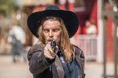Cowboy Points Gun at You — Stock Photo