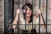 Portrait of Screaming Female Prisoner — 图库照片