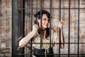 Portrait of Sneering Female Prisoner — 图库照片