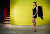 Angel in black — Stock Photo